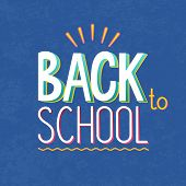 Vector Illustration Of Text Sign -back To School - On Blue Texture Background. Lettering, Typography poster