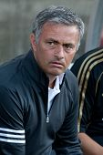 LOS ANGELES - JULY 16: Real Madrid C.F. manager Jose Mourinho during the World Football Challenge ga
