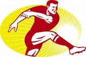 Rugby speler schoppen bal Retro