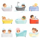 Cute Little Kids Bathing And Having Fun In Bathtub Set, Adorable Boys And Girls In Bathroom, Daily H poster