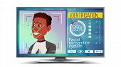 Face Recognition, Identification System . Face Recognition Technology. Afro American Face On Screen. poster