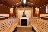 Interior Of A Russian Sauna
