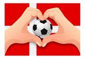 Denmark Flag And Hand Heart Shape. National Football Background. Soccer Ball With Flag Of Denmark Ve poster