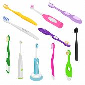 Toothbrushe Vector Dental Hygiene Tooth Brush For Brushing Teethwith Toothpaste Illustration Dentist poster