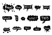 Hand Drawn Set Of Colorful Speech Bubbles With Dialog Words. Vector Bubbles Speech Doodle. poster