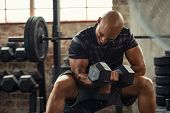 Muscular guy lifting dumbbell while sitting on bench at gym. Mature african athlete using dumbbell d poster