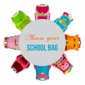 Colored School Backpacks In Circle Vector Illustration. Backpacks With School Supplies, Notebooks, P poster