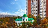 Chisinau, Moldova 21 July 2019: Autumn Panorama Of Chisinau City High-rise Buildings Construction. C poster