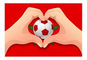 Morocco Flag And Hand Heart Shape. National Football Background. Soccer Ball With Flag Of Morocco Il poster