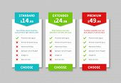Comparison Pricing List. Price Plan Table, Product Prices Comparative Tariff Chart. Business Infogra poster