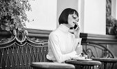 Call Friend. Relax And Coffee Break. Girl Fashionable Lady With Smartphone. Leisure Concept. Woman A poster