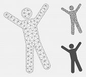Mesh Man Joy Model With Triangle Mosaic Icon. Wire Frame Polygonal Mesh Of Man Joy. Vector Mosaic Of poster