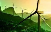 Wind Turbine Farm In Beautiful Nature Landscape. poster