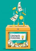 Donation Box And Money. Funding Project By Raising Monetary Contributions From People. Crowdfunding  poster