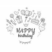 Happy Birthday Sketch Background. Birthday Celebration Party Drawn Cake Balloon Kids Surprise Holida poster