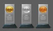 Gold Silver And Bronze Medal Trophy. Realistic Crystal Vector Awards Isolated On Transparent Backgro poster
