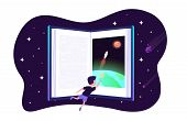 Dream With Book. Vector Child Dreams Concept. Kids Imagination With Space Travelling Boy And Earth A poster