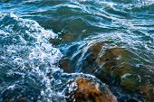 Whitewater, Splashes Of River Flowing Over Rocks At High Current. poster