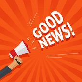 Good News Information Alert From Hand With Megaphone Or Loudspeaker Vector Illustration, Flat Cartoo poster
