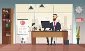 Director Office. Interior Businessman Sitting At The Table Vector Office Cartoon Picture. Office Des poster
