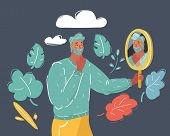 Cartoon Vector Illustration Of Positive Person Looking At His Own Reflection In The Mirror. Mirror S poster
