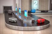 Suitcases on the airport luggage conveyor belt. Baggage claim. Airport terminal. 3d illustration poster