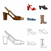 Isolated Object Of Footwear And Woman Symbol. Set Of Footwear And Foot Stock Symbol For Web. poster