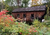 stock photo of covered bridge  - little eureka bridge in vermont - JPG