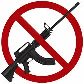 image of ar-15  - Assault Rifle AR 15 Gun Ban Symbol Isolated on White Background Illustration - JPG