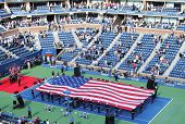A cerimônia de abertura do US Open masculino final match no Billie Jean King National Tennis Center