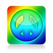 foto of woodstock  - Colorful Peace and Love hippies icon isolated on white background - JPG
