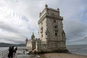 LISBON - OCT 20: An exterior view of the Belem Tower is shown on October 20, 2012 in Lisbon, Portuga