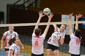 KAPOSVAR, HUNGARY - JANUARY 13: Zsanett Pinter (2) in action at the Hungarian I. League volleyball g