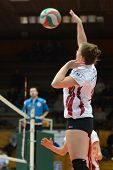 KAPOSVAR, HUNGARY - JANUARY 13: Zsanett Pinter in action at the Hungarian I. League volleyball game