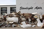 BEACHES SOUTH, NJ - JAN 13: Pile of debris on the sidewalk in front of Starlight Apts on January 13,