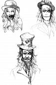 image of dread head  - A hand drawn illustration of scary head - JPG