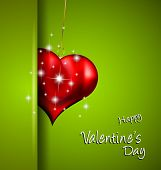 Elegant Valentine's Day background with a Shiny Heart, gold rope and a clean background. Ideal for i