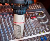 Recording Studio Microphone Over Sound Mixer