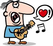 image of serenade  - Cartoon Illustration of Funny Man Playing on the Guitar and Singing Love Song for Valentines Day - JPG