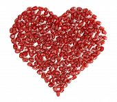 Valentine'S Heart Shape Made By Pomegranate Seeds