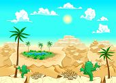 Desert with oasis. Vector illustration. The sides repeat seamlessly for a possible, continuous anima