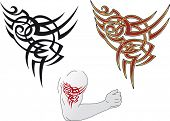 stock photo of maori  - Maori styled tattoo patterns fit for a shoulder - JPG