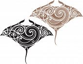 Maori styled tattoo pattern in shape of manta ray. Fit for shoulders and upper back. Raster. Check my portfolio for a vector version.