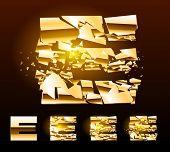 Un vector cartas de juego de un alfabeto de oro roto. Símbolo e