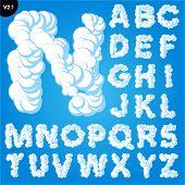 Vector illustration of cloud alphabet on a blue sky background. Bold font Uppercase