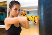 picture of kickboxing  - Kickboxing girl practicing with a punching bag - JPG
