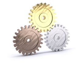 foto of bronze silver gold platinum  - Three gears bronze silver and gold as a poduim concept of winning - JPG