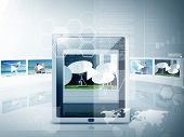 business, technology and video concept - illustration of tablet pc with video player app