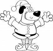 Cartoon dog dressed as an elf