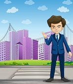 Illustration of a businessman at the pedestrian lane